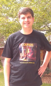 Michael, wearing an awesome Chaos & Alchemy T-shirt