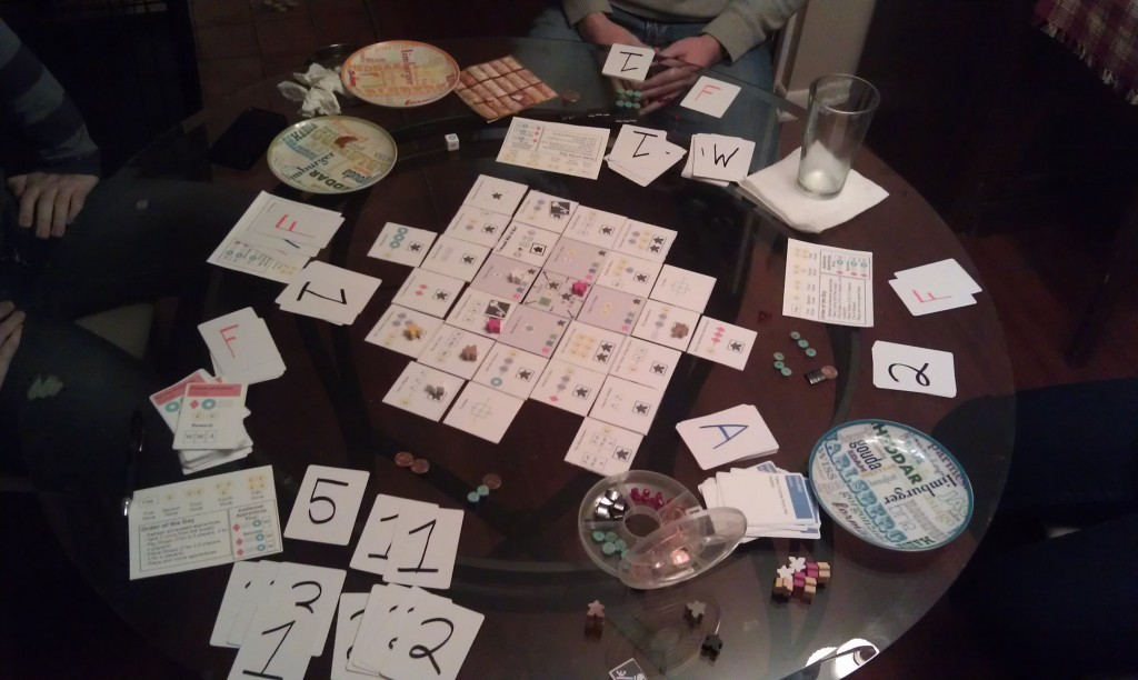 Playtest game by my brother Danny, at the end of the game