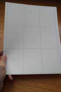 Printed grid, ready for glue